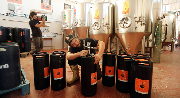 """מתקינים חביות של בירה קנאביס במבשלת בירבאזר. """"לספק לצרכן אפקט נוסף מעבר להנאה שבשתייה"""""""