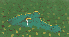 דמעות התנין שגורפות לייקים , איור: יונתן פופר