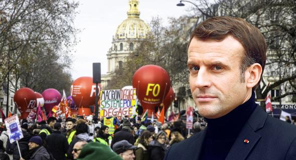 נשיא צרפת עמנואל מקרון על רקע הפגנה מוקדם יותר החודש