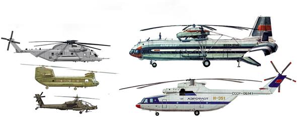 רגע של השוואה: מימין ה-Mi12 וה-Mi26, ומשמאל ה-CH53 ותחתיו ה-CH47 והאפאצ'י האמריקאיים
