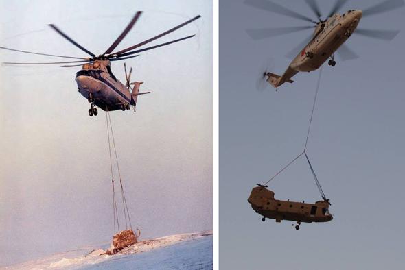 מימין: Mi26 נושא מסוק אמריקאי כבד מדגם צ'יינוק, ומבצע הטסת הממותה הקפואה