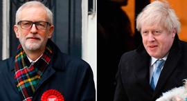 ג'רמי קורבין ובוריס ג'ונסון אחרי שהצביעו בבחירות ב בריטניה, צילום: Getty