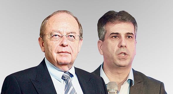 מימין שר הכלכלה אלי כהן ונציג היבואנים באיגוד לשכות המסחר ראובן בילט, צילום: אוראל כהן