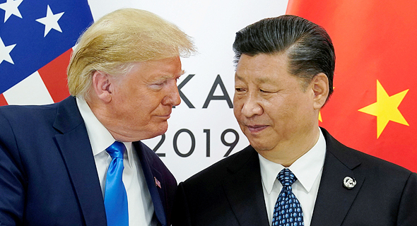 """מימין נשיא סין שי ג'ינפינג ונשיא ארה""""ב דונלד טראמפ, צילום: רויטרס"""