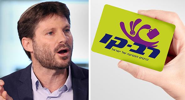 כרטיס הרב-קו (מימין) ושר התחבורה בצלאל סמוטריץ'