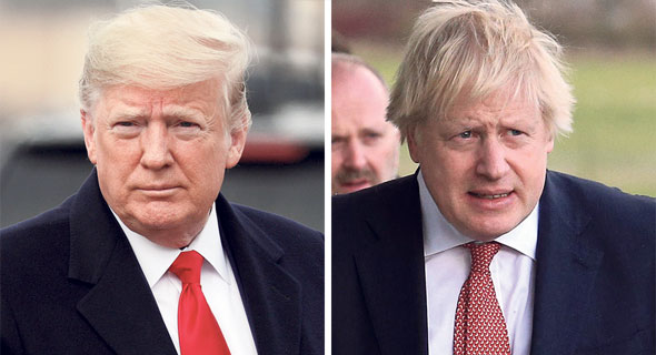 """מימין: ראש ממשלת בריטניה בוריס ג'ונסון ו נשיא ארה""""ב דונלד טראמפ, צילומים: רויטרס, AFP"""