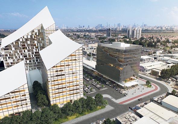 הדמיית הפרויקט של מבנה. ארבעה בנייני תעסוקה, שיכללו גם דירות מגורים