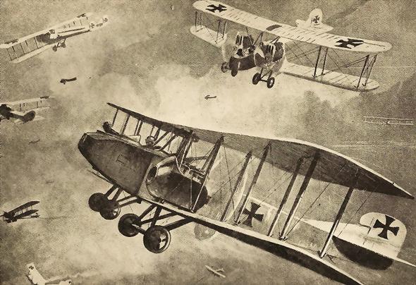 איור מפציצי גותה באוויר, צילום: WallacepictorialHistory
