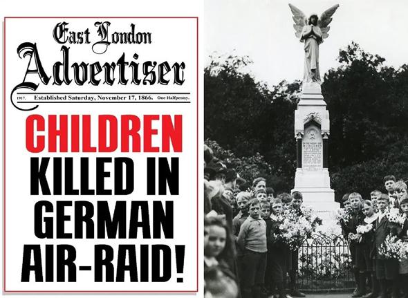 מימין: ילדי בית הספר שנפגע בטקס חניכת אנדרטה לזכר חבריהם שנספו, וכותרת עיתון לונדוני ביום המתקפה, צילום: East London Advertiser, Tower Hamlets