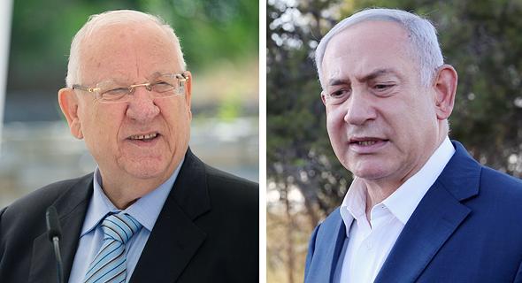 מימין ראש הממשלה בנימין נתניהו ונשיא המדינה ראובן ריבלין, צילום: אלכס קולומויסקי, יואב דודקביץ