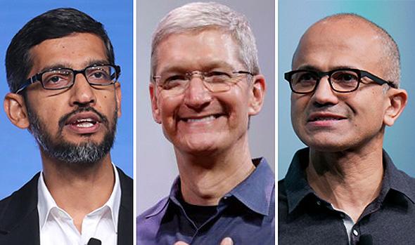 """סאטיה נאדלה, טים קוק וסונד פיצ'אי - המנכ""""לים של מיקרוסופט, אפל ואלפבית. המניות המשיכו לעלות"""