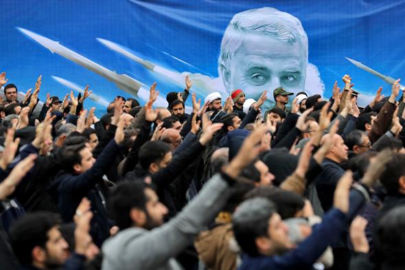 הפגנות באיראן בעקבות חיסולו של קסאם סולימאני בסוף השבוע, צילום: אי.פי