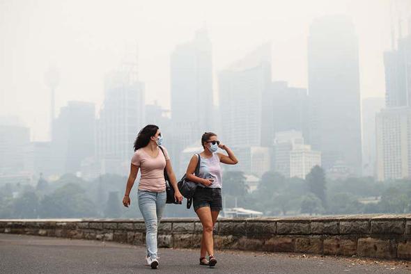 זיהום אוויר בסידני בגלל שריפות הענק, צילום: בלומברג