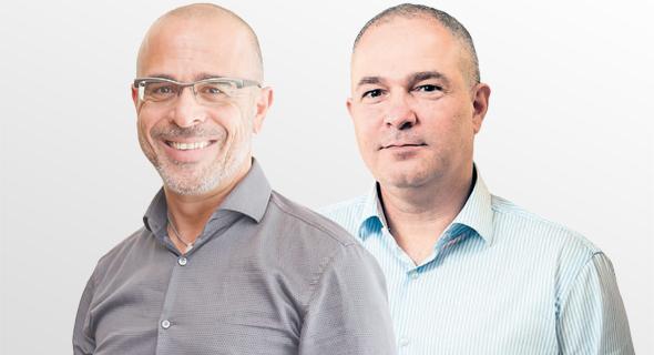 """מימין: מנכ""""ל בזק דודו מזרחי ומנכ""""ל פרטנר איציק בנבנישתי, צילום: אוראל כהן"""