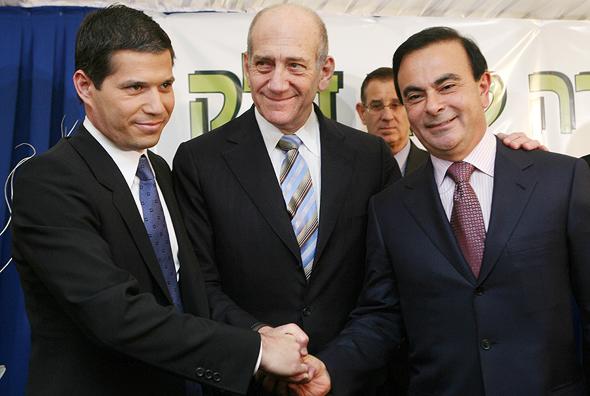 מימין קרלוס גוהן אהוד אולמרט ו שי אגסי, צילום: איי אף פי