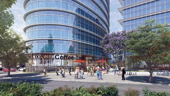 הדמיית פרויקט מגדל משרדיםבאזור התעשייה של הרצליה פיתוח, צילום: קו מתאר בע״מ אדריכלות ובניין ערים
