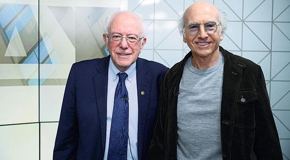 לארי דייוויד וה סנטור הדמוקרטי ברני סנדרס, צילום: Getty Images