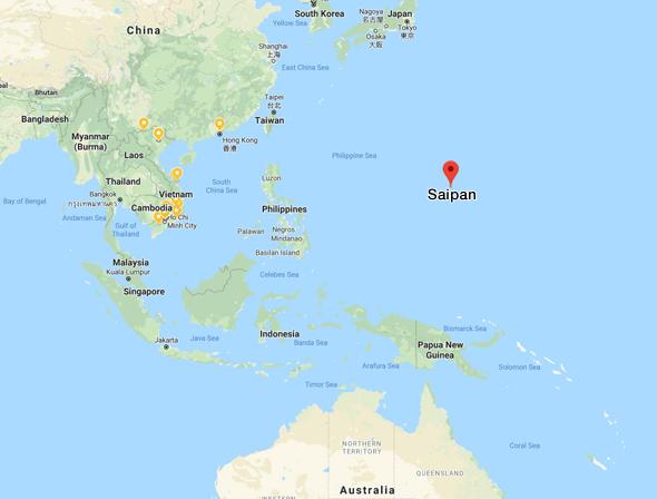 מיקום האי סאיפאן