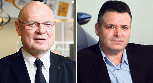 """מימין: מנכ""""ל קל אוטו אבי צור ומנכ""""ל קרסו מוטורס איציק וייץ, צילום: עמית שעל"""