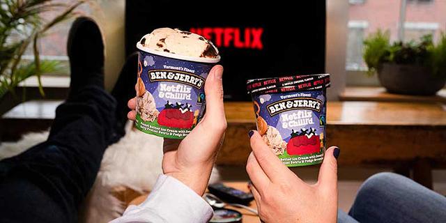 """חדש בארה""""ב: גלידת בן אנד ג'ריס ב""""טעם נטפליקס מקורי"""""""