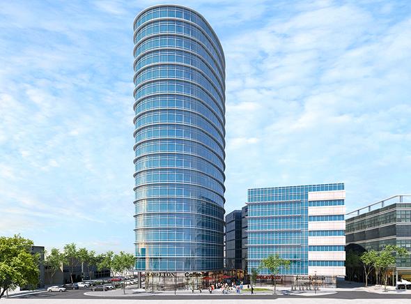 הדמיית המגדל של חברת הביטוח מגדל שייבנה בהרצליה פיתוח, הדמיה: קו מתאר בע״מ אדריכלות ובניין ערים