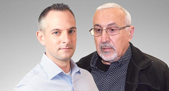 """מימין: המנכ""""ל לשעבר יוסף כהן ועו""""ד אורי בן יוחנה שמייצג את מנהלת החשבונות לירית כץ"""