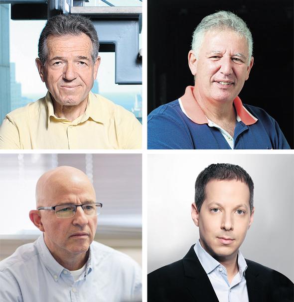 מנהלי ההשקעות המובילים בתשואות: (מימין לשמאל, נגד כיוון השעון) גילעד אלטשולר מאלטשולר שחם, שמואל לב מאנליסט, דייב לובצקי מאי.בי.אי ואלי צחור מברומטר