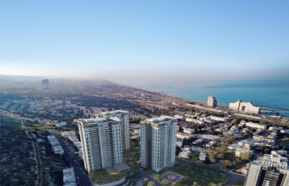 פרויקט אלמוג כרמל מערב. שלושה מגדלים ו-437 יחידות דיור , הדמיה: D In3