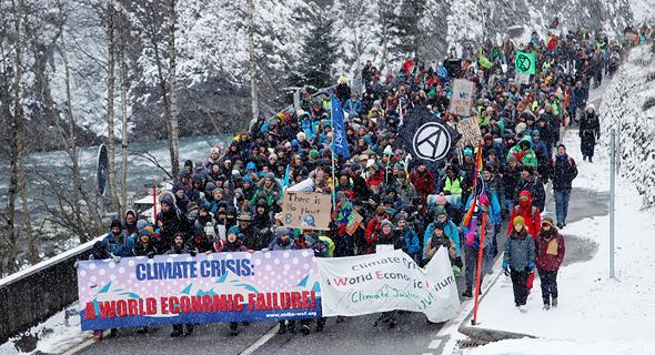 הפגנה בפורום דאבוס 2020