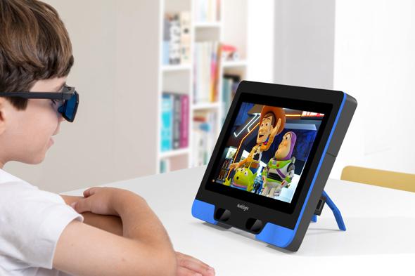A child wearing eye-tracking glasses. Photo: NovaSight