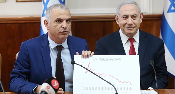 Moshe Kahlon (left) and Benjamin Netanyahu. Photo: Alex Kolomvisky
