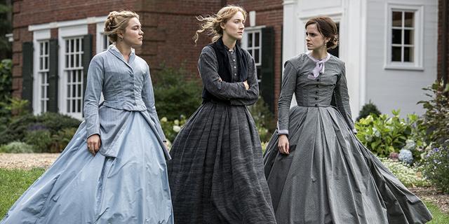 מימין אמה ווטסון סרשה רונן ופלורנס פו, מתוך הסרט נשים קטנות , צילום: Sony Pictures