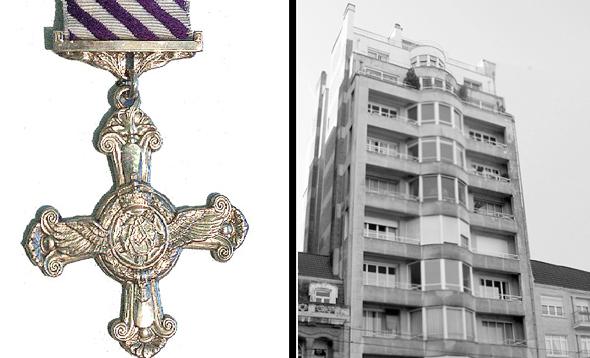 הבניין שנתקף והמדליה שקיבל לונשומפ, צילום: Wikimedia