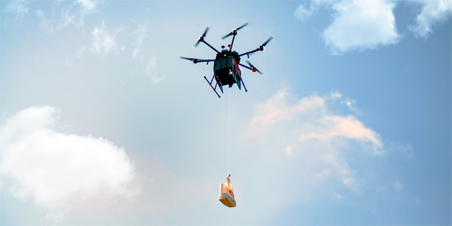 A Flytrex drone delivering a package. Photo: PR