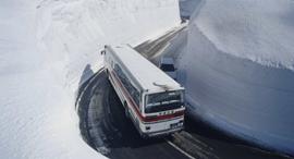 אוטובוס בין קירות השלג, צילום: גטי