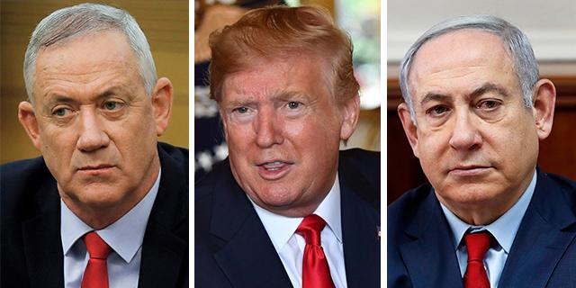 נתניהו, טראמפ וגנץ, צילום: AFP, EPA