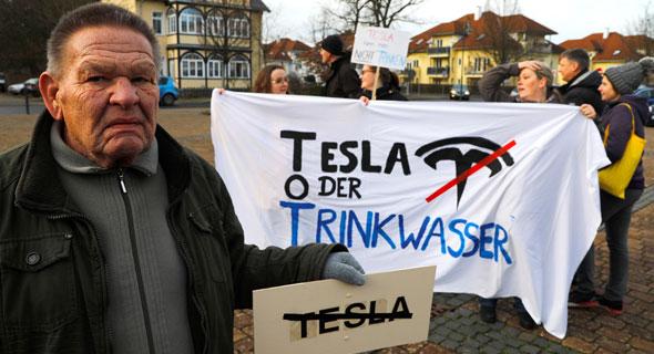 טסלה הפגנות ב גרמניה נגד תוכנית החברה להקים מפעל ליד ברלי, צילום: Reuters