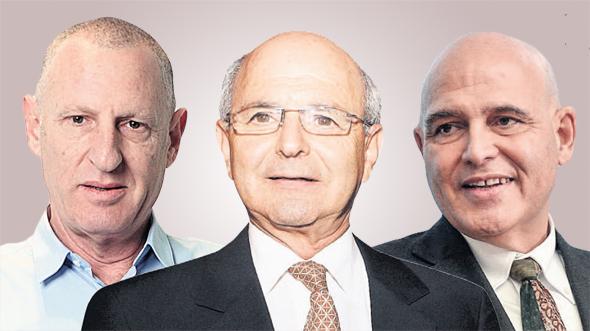 """מימין: בעל השליטה ברשת פתאל, דוד פתאל; בעל השליטה ברשת מלונות דן מיקי פדרמן; ומנכ""""ל ישרוטל ליאור רביב"""