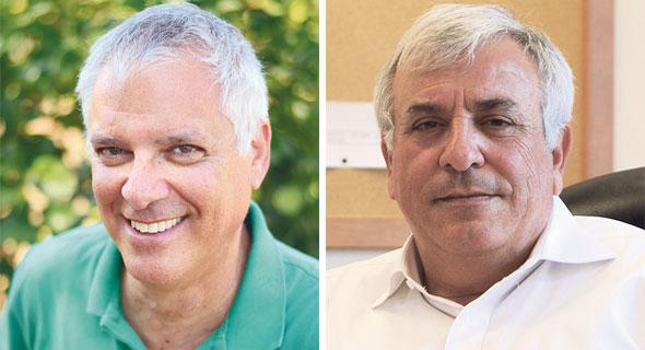 """מימין: שר החקלאות לשעבר אורי אריאל ומנכ""""ל עמותת לקט ישראל גידי כרוך"""