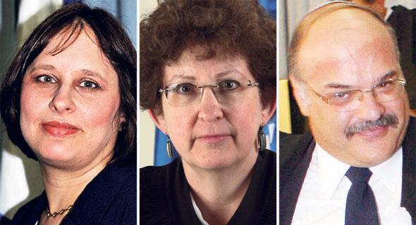 מימין: נשיא המחוזי אהרון פרקש והשופטות רבקה פלדמן פרידמן וחגית מאק־קלמנוביץ