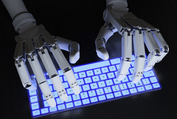A robot typing on a keyboard. Photo: Shutterstock
