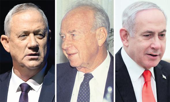 """ימין: ראש הממשלה בנימין נתניהו, ראש הממשלה המנוח יצחק רבין ויו""""ר כחול לבן בני גנץ, צילום: ABACA , מאיר פרטוש, יאיר שגיא"""