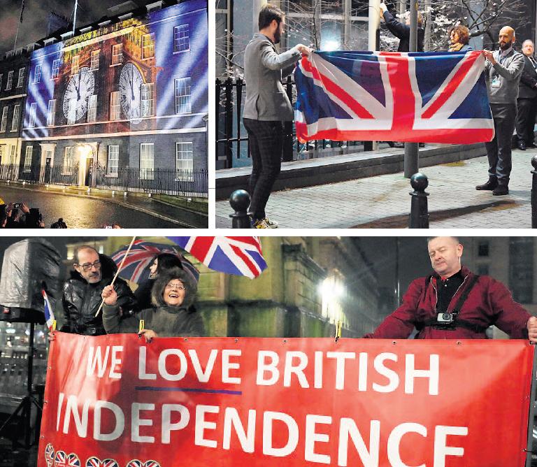 מימין למעלה: דגל בריטניה מוסר מבניין הפרלמנט האירופי בבריסל, תומכי הברקזיט חוגגים וספירה לאחור מוקרנת על דאונינג 10, צילומים: אי.פי, אי.אף.פי, פי.אי