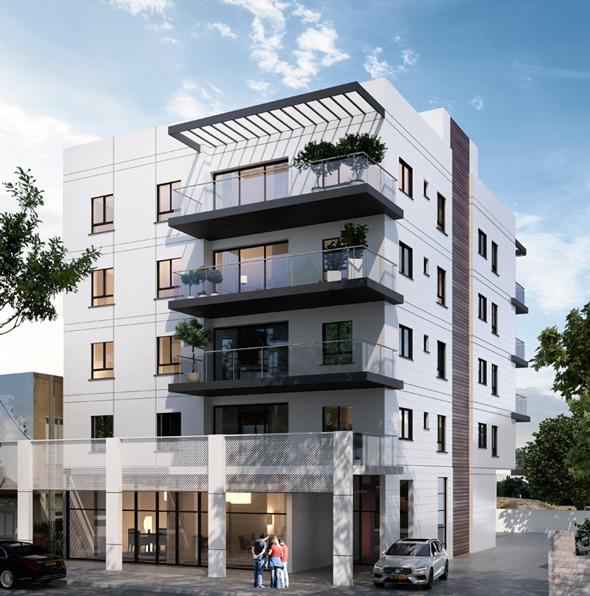 """הדמיה של פרויקט עמידר דיור ציבורי רחוב צה""""ל ראש העין , אנטרייס הדמיות  N-TRACE, תכנון- לוטן אדריכלים"""