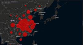 דאשבורד אתר אינטרנט תפוצת נגיף קורונה, צילום: מסך אתר אוניברסיטת ג'ון הופקינס