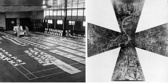 תמונת פסיפס של מספר מצלמות, וחדר מלא בתצלומים שכאלה, צילום: RAF
