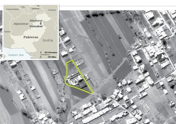המתחם בו חוסל אוסאמה בן לאדן, בתצלום לוויין, צילום: CIA