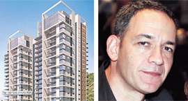"""מימין: מנכ""""ל אזורים רון אבידן והדמיית פרויקט בינוי בינוי של החברה, צילום: עמית שעל"""