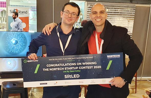 לאחר הזכייה במקום הראשון בתחרות ה-Nortech Startup 2020, צילום: SlitLed