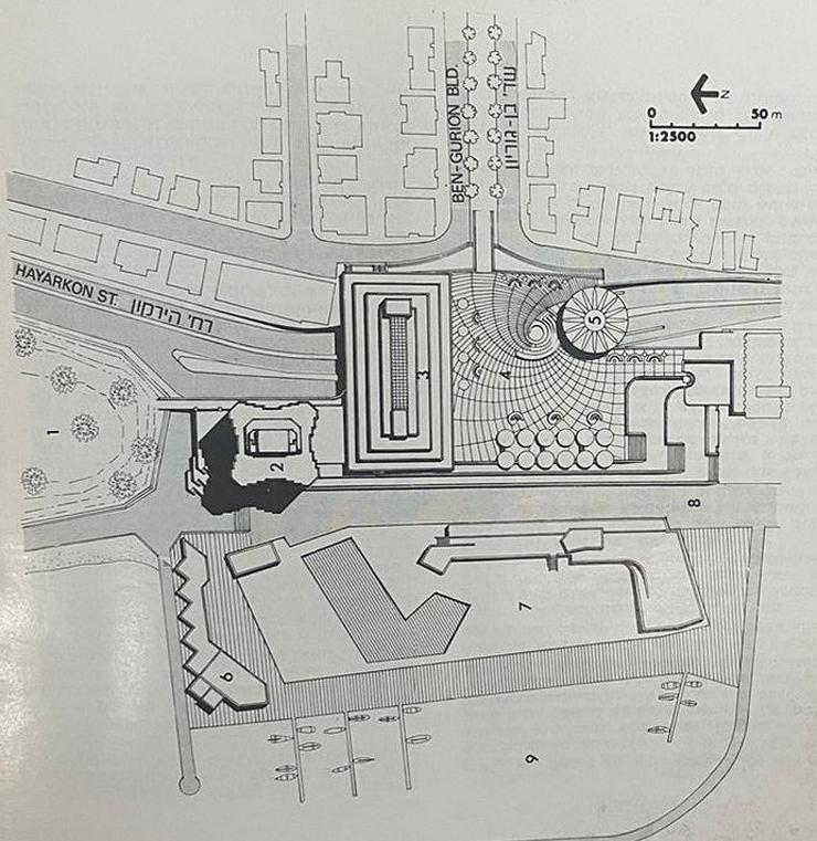 תוכנית הכיכר - ביקורות על שיבוש הדרכים להולכי רגל ועל קריעת הרחובות החוצים את הכיכר נשמעו כבר משלב התכנון, צילום: כתב העת ארכיטקטורה 1985